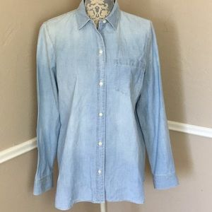 Chambray Classic Denim Fade Work-shirt Pocket